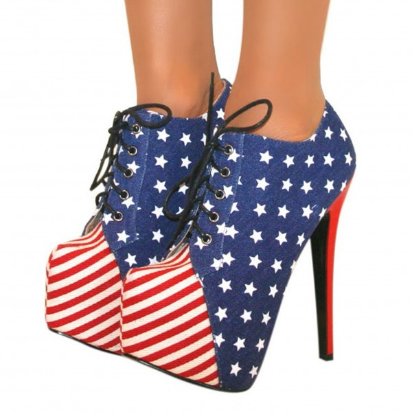 The Stars and the Stripes Lace up Boots Platform Ankle Booties image 1