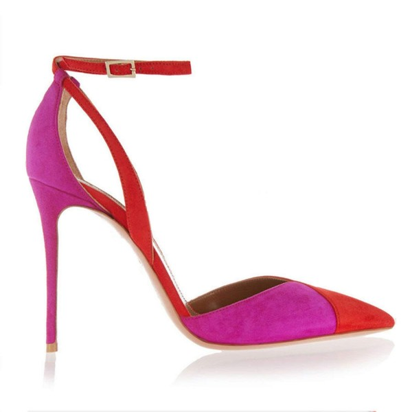 Red and Fuchsia Two Tone Closed Toe Sandals Ankle Strap Stiletto Heels image 3