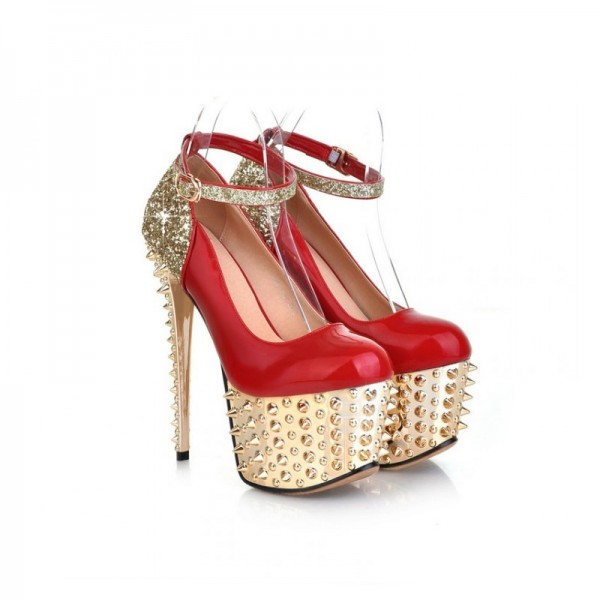 Red and Gold Heels Glitter Rivets Stiletto Heels Stripper Shoes image 3