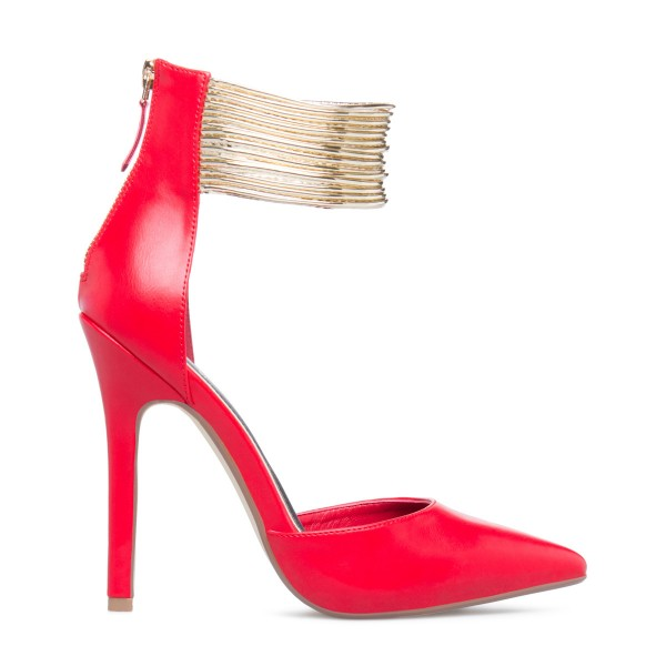 Coral Red Gold Ankle Strap Heels Pointed Toe Stiletto Heels Pumps image 3