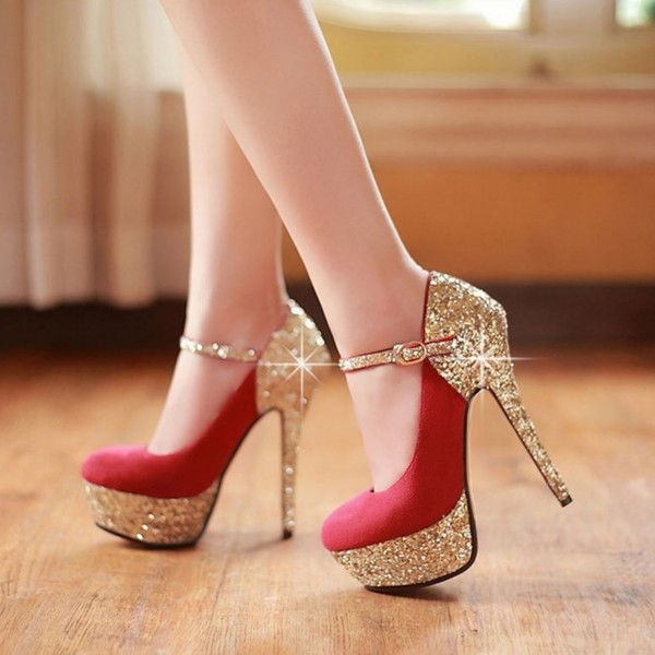 Red and Gold Glitter Bridal Heels Platform Elegant Mary Jane Pumps  image 3