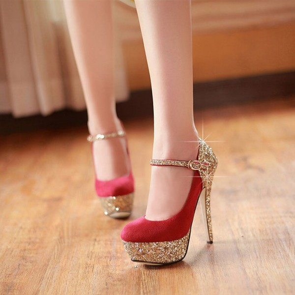 Red and Gold Glitter Bridal Heels Platform Elegant Mary Jane Pumps  image 1