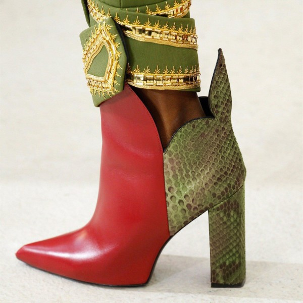 Red and Green Snakeskin Booties Pointy Toe Chunky Heel Ankle Boots image 1