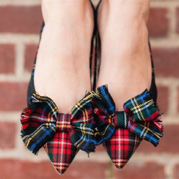 Red and Green Plaid Bow Pointy Toe Comfortable Flats image 3