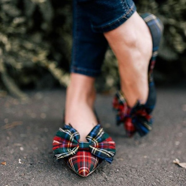 Red and Green Plaid Bow Pointy Toe Comfortable Flats image 2