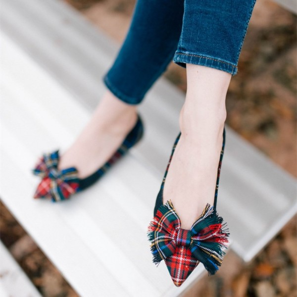 Red and Green Plaid Bow Pointy Toe Comfortable Flats image 1