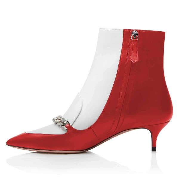 Red and White Pointy Toe Kitten Heel Boots with Chain image 3