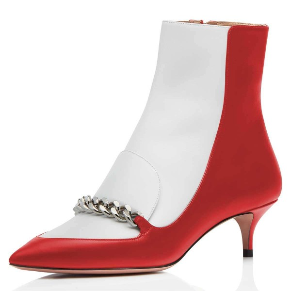 Red and White Pointy Toe Kitten Heel Boots with Chain image 2