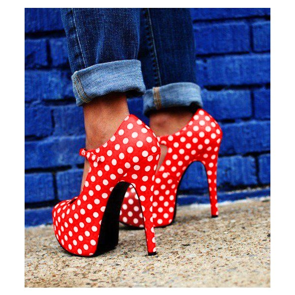 Red Polka Dots Mary Jane Pumps Vintage Heels with Platform image 3