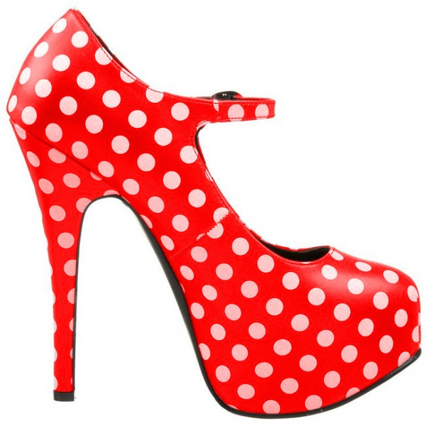 Red Polka Dots Mary Jane Pumps Vintage Heels with Platform image 4
