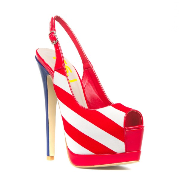 Fashion Red And White Peep Toe Slingback Heels Stripe Platform Sandals image 4