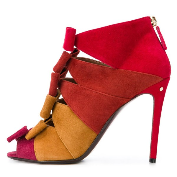 Red and Yellow Suede Multi Bows Peep toe Stiletto Heel Summer Boots image 2