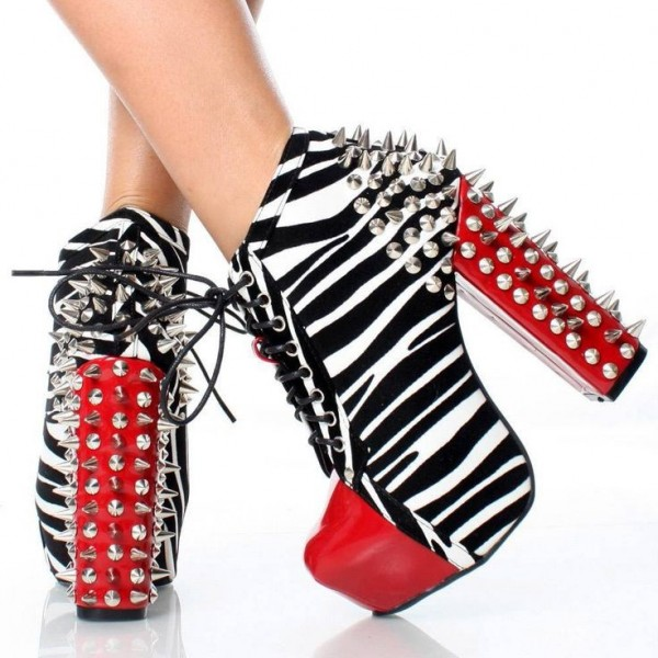 Zebra Print and Red Lace up Boots Chunky Heel Spike Studded Boots image 1