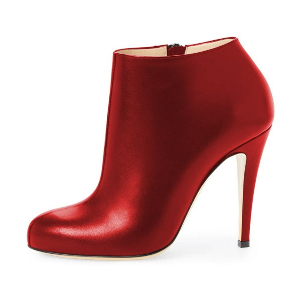 FSJ Red Heeled Boots Chunky Heel Fashion Work Ankle Booties image 4