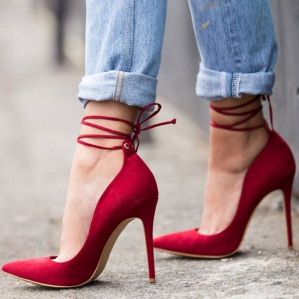 Red Suede Strappy Heels Pointy Toe Ankle Wrap Stiletto Heel Pumps image 1