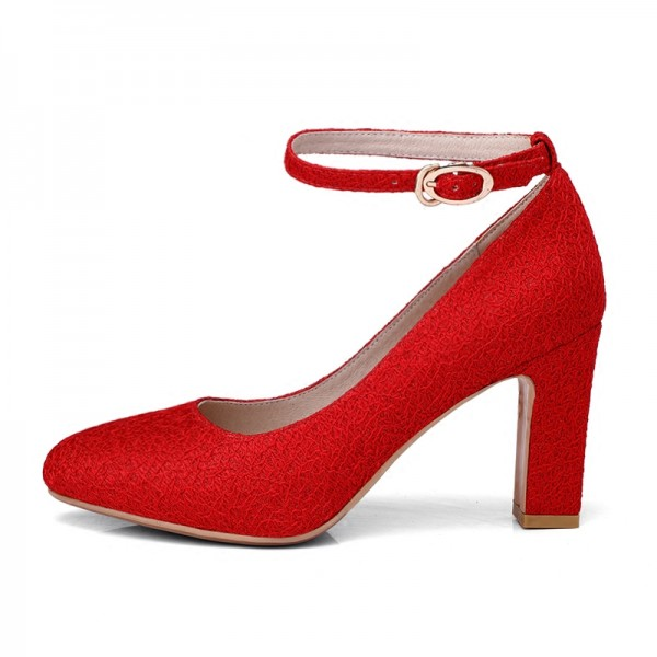 Red Ankle Strap Heels Round Toe Chunky Heel Pumps for Women image 2