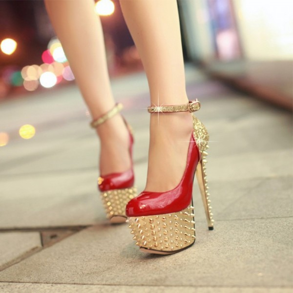 Red and Gold Heels Glitter Rivets Stiletto Heels Stripper Shoes image 4