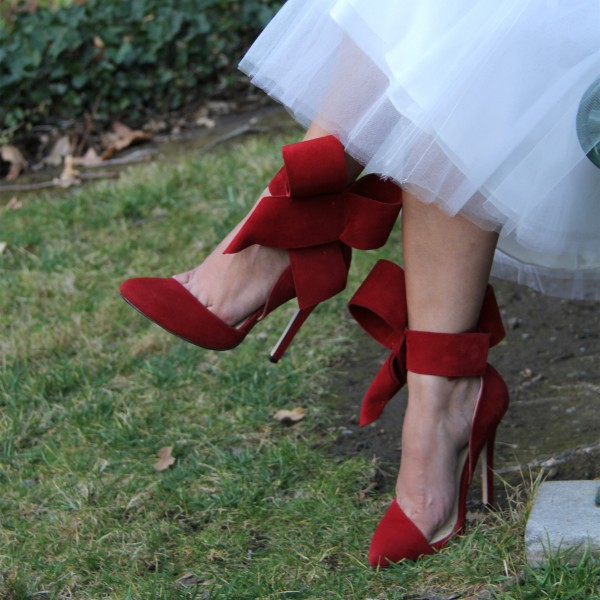 Women's Red Wedding Shoes Cute Bow Stiletto Heels Pointy Toe Ankle Strap Pumps image 1