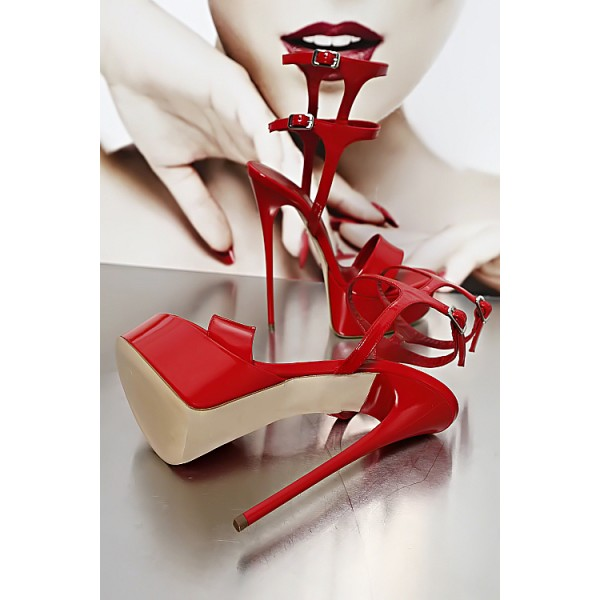 Red Stripper Heels Patent Leather Platform Stiletto Heel Sexy Shoes image 5