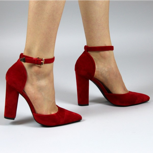 4fda09664a3 ... Women s Red Ankle Strap Heels Suede Pointy Toe Chunky Heel Pumps image  ...