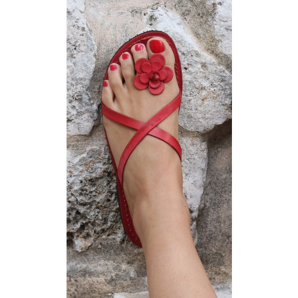 Red Beach Sandals Summer Flower Cute Flat Sandals US Size 3-15 image 2