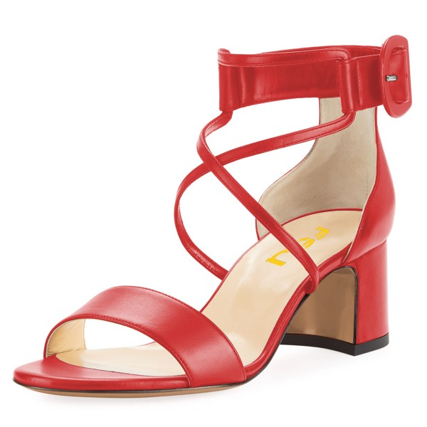Red Block Heel Sandals Ankle Strap Buckle Cross Over Sandals image 1