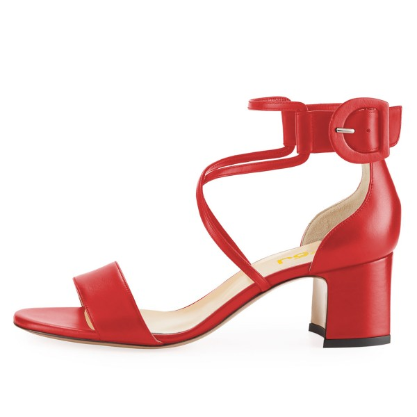 Red Block Heel Sandals Ankle Strap Buckle Cross Over Sandals image 3