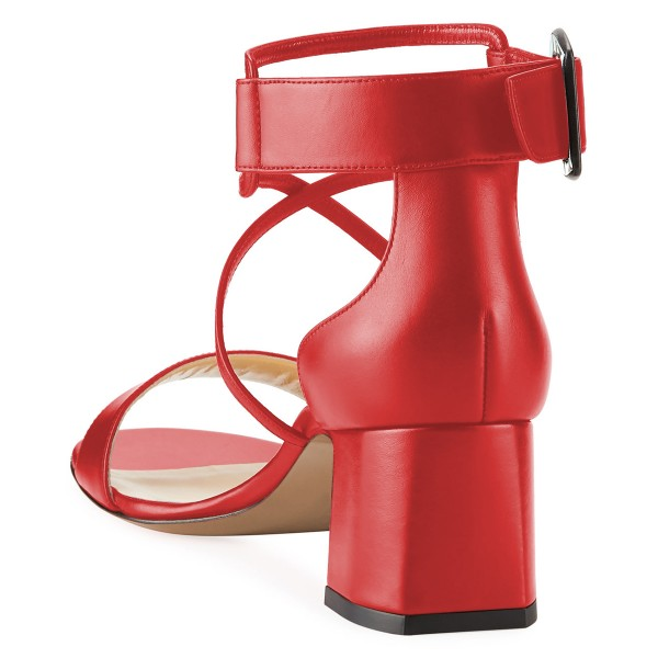 Red Block Heel Sandals Ankle Strap Buckle Cross Over Sandals image 4
