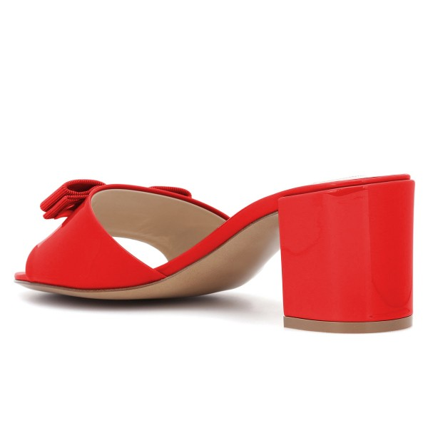 Red Block Heel Sandals Open Toe Mule with Bow image 2