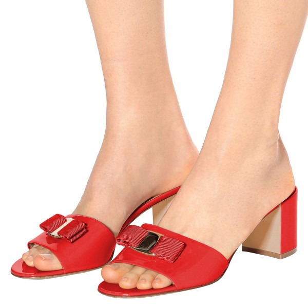 Red Block Heel Sandals Open Toe Mule with Bow image 3