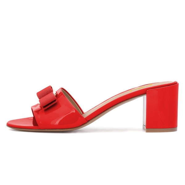 Red Block Heel Sandals Open Toe Mule with Bow image 4