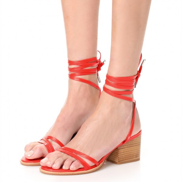ae51360ba38 Red Block Heel Sandals Open Toe Slingback Strappy Sandals