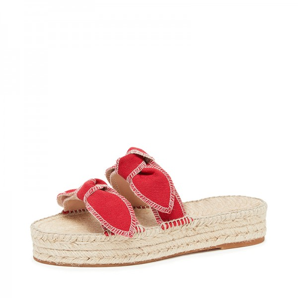 Red Bows Espadrille Sandals Comfortable Women's Slide Sandals image 1
