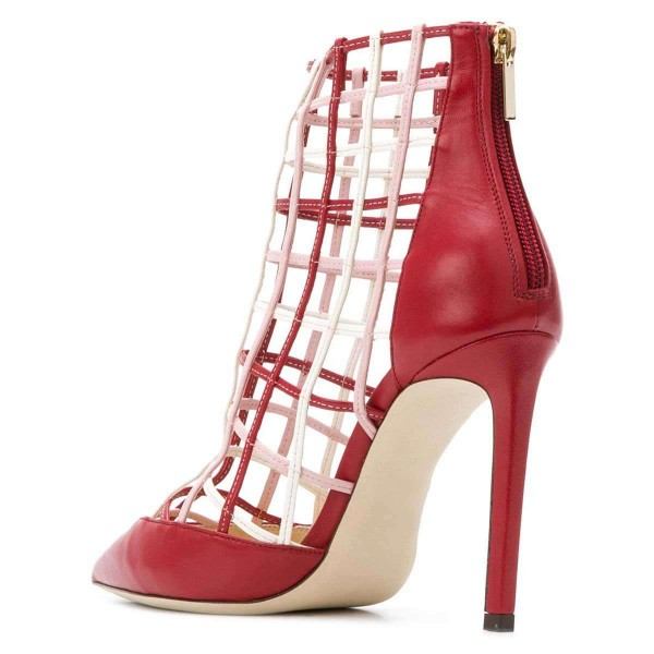 Red Caged Stiletto Heels Ankle Boots Summer Boots image 2