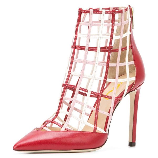 Red Caged Stiletto Heels Ankle Boots Summer Boots image 1