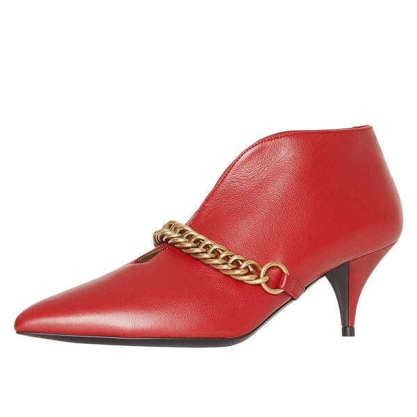 Red Chains Cone Heel Kitten Heel Fashion Boots image 1