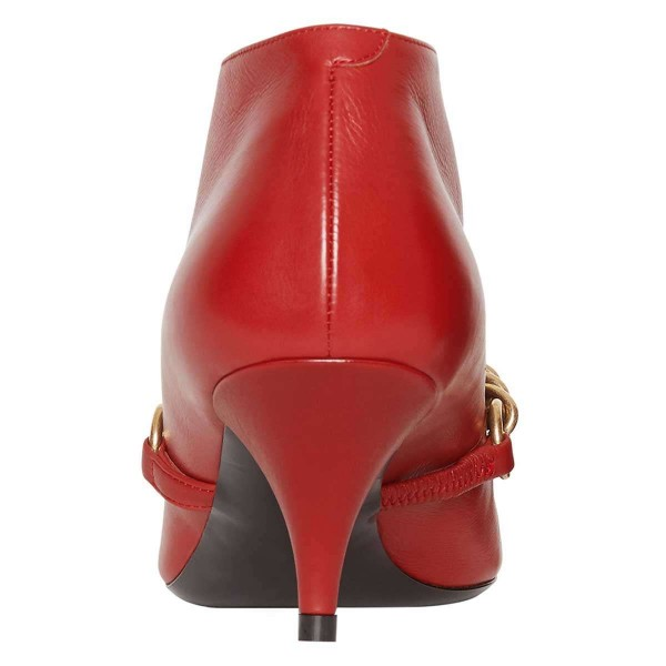 Red Chains Cone Heel Kitten Heel Fashion Boots image 3
