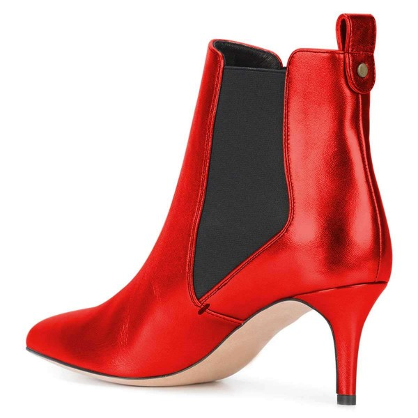 Red Chelsea Boots Stiletto Heel Ankle Boots image 2