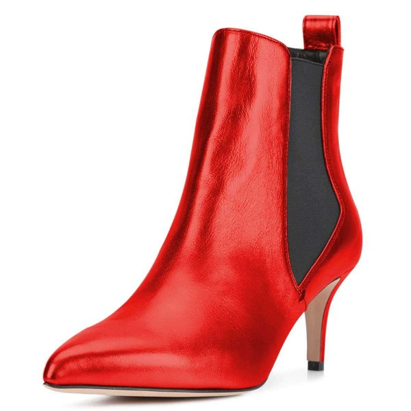 Red Chelsea Boots Stiletto Heel Ankle Boots image 1