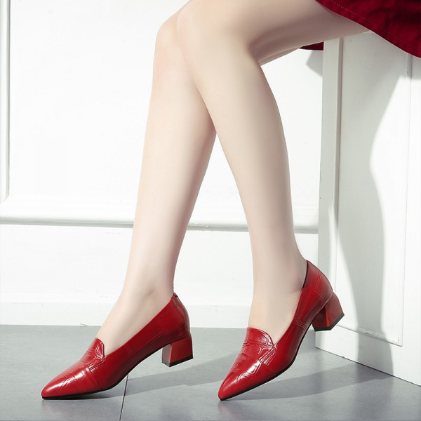 Red Pointy Toe Low Heel Loafers for Women US Size 3-15 image 3