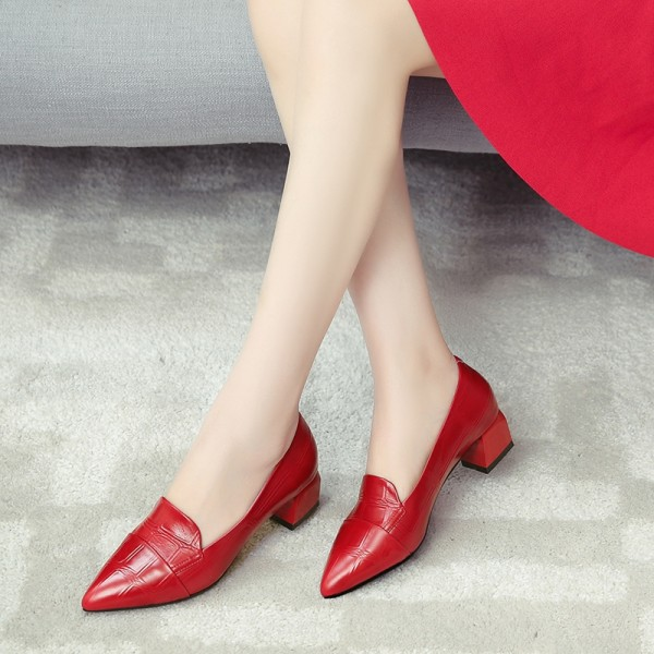 Red Crocodile Pointy Toe Low Heel Loafers for Women US Size 3-15 image 1
