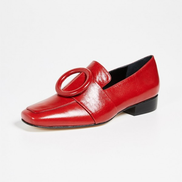 Red Circle Block Heel Loafers for Women image 1