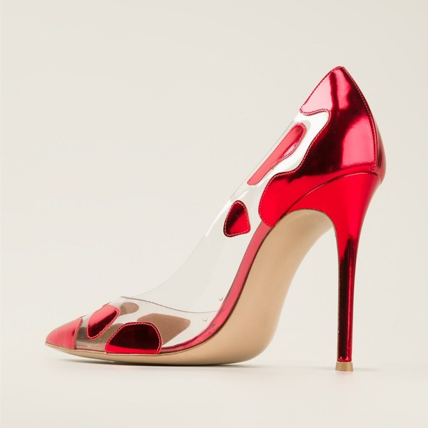 Red Clear 4 Inch Heels Pumps High Heels for Women image 3