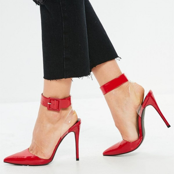 Red Clear Heels Ankle Strap Pointy Toe