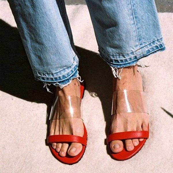 Red Clear PVC Women's Slide Sandals image 1