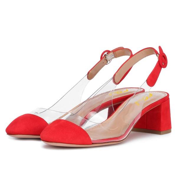 Red Clear Slingback Block Heels Pumps image 1