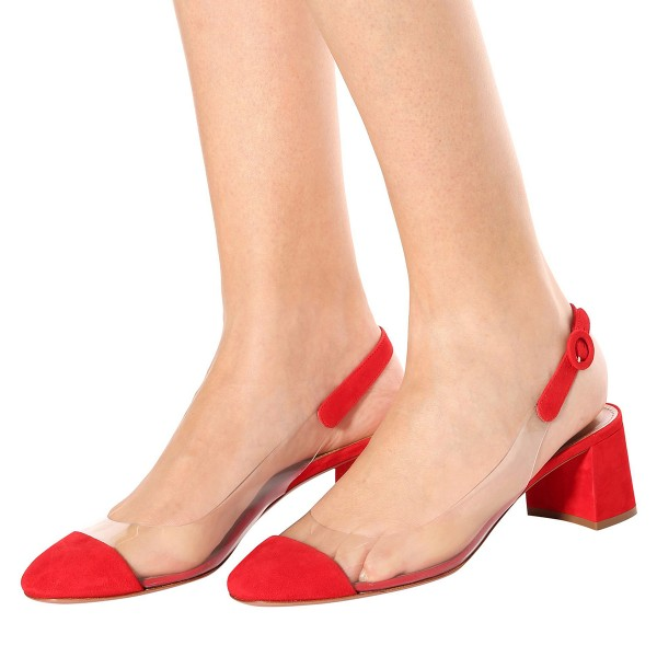 Red Clear Slingback Block Heels Pumps image 3