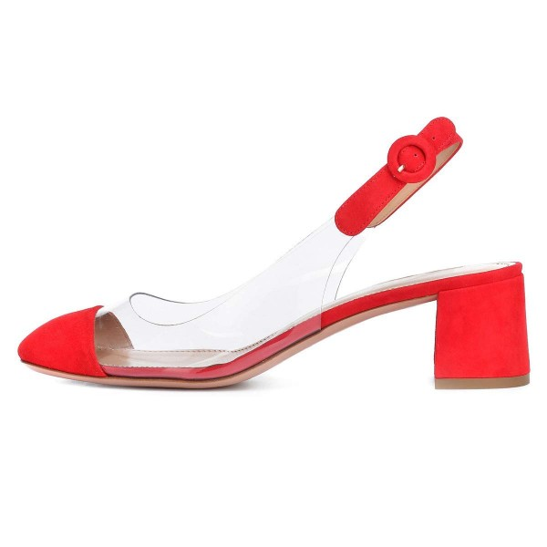 Red Clear Slingback Block Heels Pumps image 2