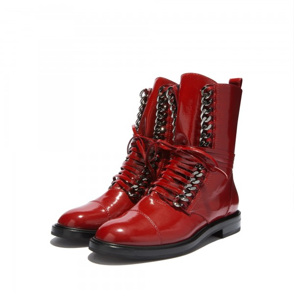Red Combat Boots Metal Chain Lace Up