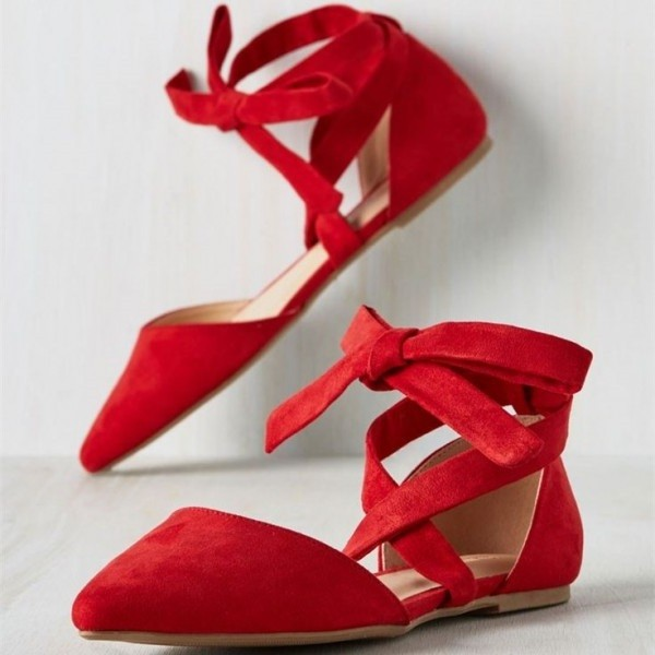 Red Ballet Vintage Comfortable Flats Crossed-over School Shoes image 1